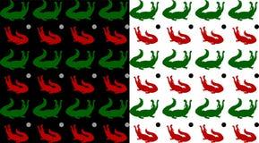 2 безшовных картины, крокодилы зеленые и красные, с открытым ртом иллюстрация штока