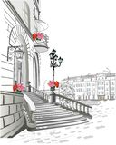 Series of street views in the old city. Hand drawn vector architectural background with historic buildings. Black & white sketch royalty free illustration