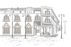Series of backgrounds decorated with flowers, old town views and street cafes. Hand drawn vector architectural background with historic buildings stock illustration