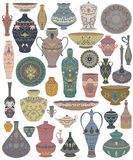 Traditional Arabic utensils collection. Oriental dishes, pots, lantern, bowl, plates, pottery, ceramic with national floral orname. Nt. Isolated objects on white stock illustration