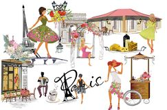 Set of Paris illustrations with fashion girls, cafes and musicians. Vector illustration vector illustration