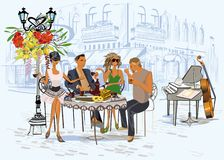 Series of the street cafes with fashion people, men and women, in the old city, vector illustration. Waiters serve the tables stock illustration