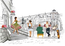 Series of colorful retro street views with fashion people in the old city. Hand drawn vector architectural background with historic buildings. Street musicians stock illustration
