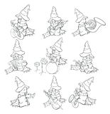 Vector Illustration of a Cute Cartoon Character Ghost for you Design and Computer Game. Coloring Book Outline Set. Cute ghosts in hats and striped scarves vector illustration