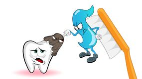 Cartoon characters. The microbe attacks the tooth, and in this momet the paste on the brush interferes with the conflict. The conc stock illustration
