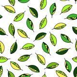 Floral background. Seamless pattern with green leaves. Seamless pattern with yellow green, lime green leaves. Floral background for textile, home decor, fabric vector illustration