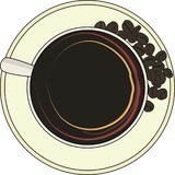 Cup of coffee with grains of coffee stock illustration