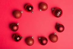 Безделушки рождества в круге Стоковые Фото