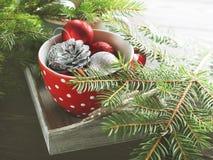 Безделушки рождества и зеленые ветви Стоковое Изображение