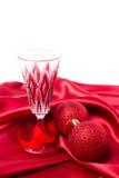 Безделушки рождества и стекло шампанского Стоковые Изображения RF