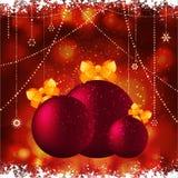 Безделушки рождества с предпосылкой смычка Стоковое Изображение