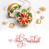 Безделушки рождества с poinsettia на снеге, тексте Стоковая Фотография RF
