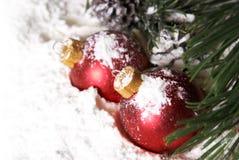 Безделушки сосен рождества Snowy стоковое изображение rf