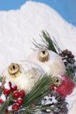 Безделушки сосен рождества Snowy стоковое фото