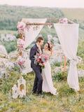 Без сокращений взгляд невесты штрихуя сторону groom около свода свадьбы в горах стоковое изображение