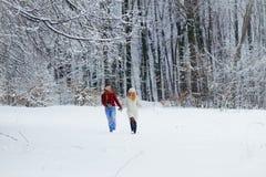 Без сокращений взгляд прелестных любящих пар держа руки и счастливо бежать вдоль снежного леса Стоковое фото RF