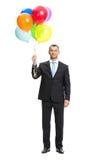 Без сокращений портрет бизнесмена с воздушными шарами Стоковая Фотография RF
