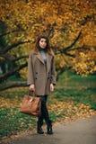 Без сокращений фото длинн-с волосами брюнета в солнечных очках с сумкой в ее руке против предпосылки леса осени стоковое фото rf