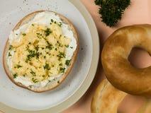 Бейгл взбитого яйца и плавленого сыра Стоковая Фотография