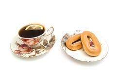 2 бейгл и чая с лимоном Стоковое фото RF
