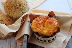 Бейгл сыра хлеба для завтрака Стоковые Фотографии RF