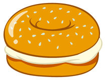 Бейгл с плавленым сыром бесплатная иллюстрация