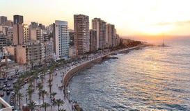 Бейрут на заходе солнца Стоковые Фотографии RF