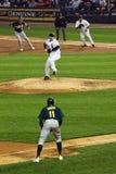 бейсбол загоняет бегунков в угол Стоковые Фото