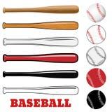 Бейсбол и бейсбольная бита изолированные на белой предпосылке Стоковая Фотография RF