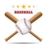 Бейсбол и бейсбольная бита на белой предпосылке Стоковые Фотографии RF
