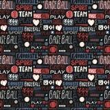 Бейсбол картины абстрактного эскиза безшовный для мальчиков, девушек Литерность, любимый спорт, вы выигрываете, объединяетесь в к Стоковое Изображение RF