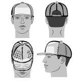 Бейсбол, теннис, крышка рэпа и человек возглавляют Стоковое фото RF