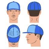 Бейсбол, теннис, крышка рэпа и человек возглавляют Стоковые Изображения RF