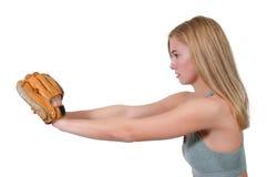 Бейсболист женщины стоковое фото