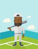 Бейсболист на поле Стоковая Фотография RF