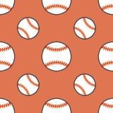 Бейсбол, картина вектора игры спорта софтбола безшовная, предпосылка с линией значками шариков Линейные знаки для Стоковые Изображения RF