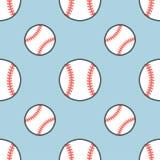 Бейсбол, картина вектора игры спорта софтбола безшовная, предпосылка с линией значками шариков Линейные знаки для Стоковое Фото