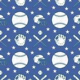Бейсбол, картина вектора игры спорта софтбола безшовная, предпосылка с линией значками шариков, перчаток, летучей мыши, шлема лин Стоковые Изображения RF
