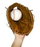 Бейсбол уловленный в перчатке Стоковое Изображение