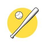 Бейсбольная бита и шарик Иллюстрация вектора изолированная на белой предпосылке Стоковое Фото
