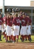 Бейсбольный матч мальчиков средней школы Стоковое Изображение RF