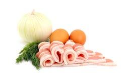 бекон eggs лук сырцовый Стоковая Фотография RF