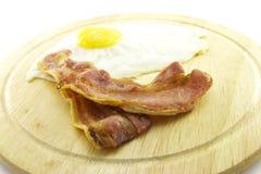 бекон eggs плита деревянная Стоковая Фотография