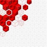 Белая абстрактная предпосылка с красной геометрической картиной иллюстрация вектора