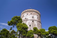 Белая башня Thessaloniki, Греции стоковая фотография
