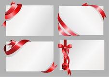 Белая бумага с красной конструкцией тесемки Стоковые Изображения RF