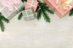 Белая деревянная предпосылка рождества украсила ветви сосны Стоковая Фотография