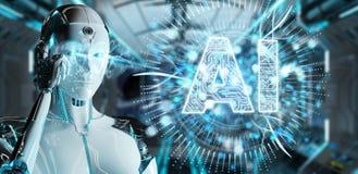 Белая женщина гуманоида используя цифровой значок искусственного интеллекта