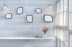 Белая живущая комната украшенная с красно-розовым подняла Стоковое Изображение RF