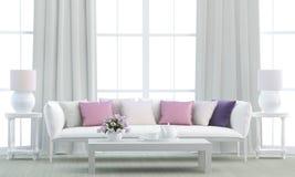Белая живущая комната Стоковые Изображения